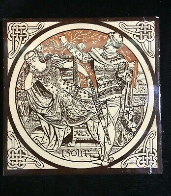 Minton Moyr Smith Brown 'IDYLLS OF THE KING - ISOLT' 6 x 6 TILE - Rare!