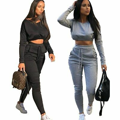 dd2cdb637c7d Ladies Women Cropped Top Bottom Loungewear 2 Pc Set Gym Sports Joggers  Tracksuit