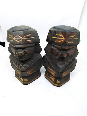 1pair Wooden japanese doll ainu art sculpture Carving Statue antique decor asian