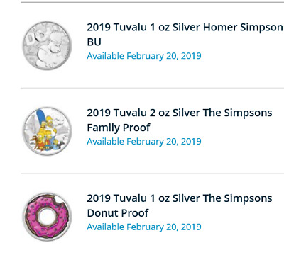 2019 Perth Mint The Simpsons All Three Coins (Family / Donut / Bu) In Hand