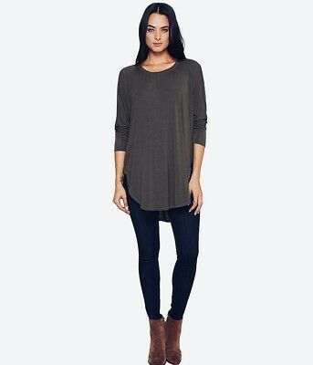 7d4fdebb09140 Micheal Stars womens gray One Size jersey lycra poncho oversized hi low top  OS