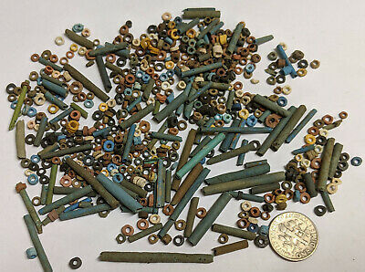 More than FIVE HUNDRED 2500 Year old Ancient Egyptian Faience Mummy Beads (K5480