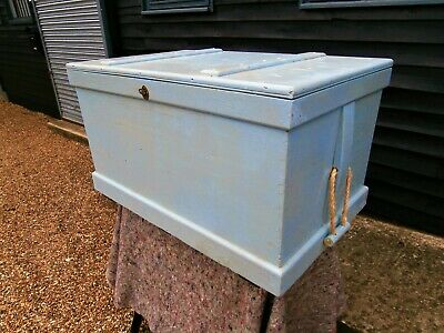 19th CENTURY PAINTED DISTRESSED BLANKET BOX CHEST TRUNK SEASIDE CHIC WE DELIVER
