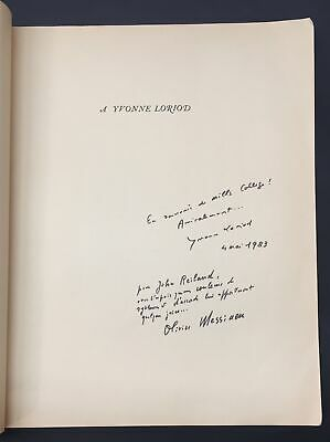 Olivier MESSIAEN (Composer) & Yvonne LORIOD (Pianist): Signed Score