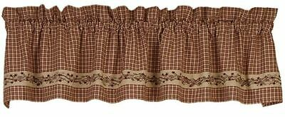 Farmhouse Burgundy Stars Berry Vines Curtain Valance Country House Collection