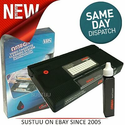 Omega 23022 VHS Video Head Cleaner│Casette Recorder Tape Cleaning System│Wet/Dry
