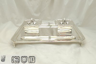 Very Rare George V Hm Sterling Silver Bloodhound Desk Inkwell