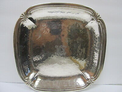"Grogan Company Sterling Hand Hammered Serving Plate 9 1/4"" W Xlnt Cond"