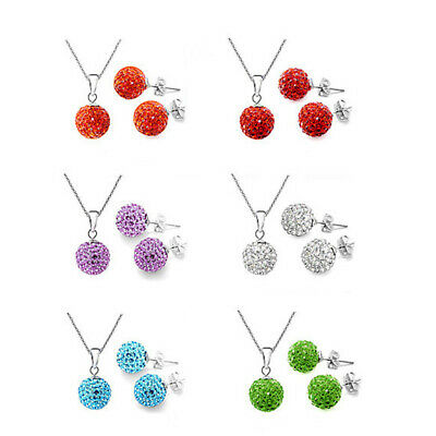 Women Delicate Simulated Clear Crystal Disco Ball Necklace Earring Set Jewelry L