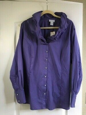 c02f64ea03 Soft Surroundings Women s Purple Double Wire Collar Elizabeth Blouse Sz 1X  Nwt
