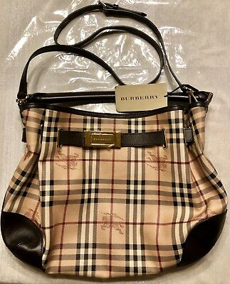 8f4f32a3b22c NEW BURBERRY Haymarket Check Coated Canvas Willenmore Medium Hobo Bag Brown  NWT