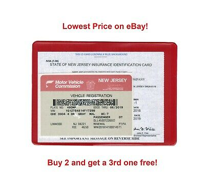 1 One Auto Car Truck Insurance Registration Id Card Case Wallet Holder Red