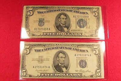 Two US Currency $5 Silver Certificate Series 1934D & Series 1953 RB