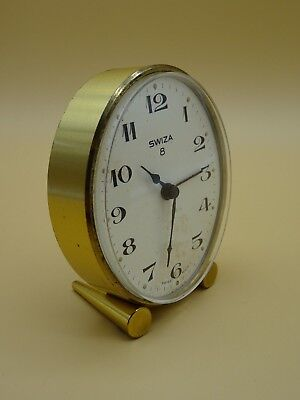 Vintage Swiza Alarm Clock Swiss Brushed Gold Tone Oval 8 Day Atomic Mid Century