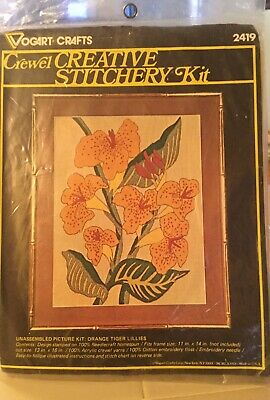 Vogart Crafts Crewel Stitchery Kit Orange Tiger Lily