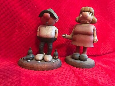 Andy Capp & Flo Wood Carvings By Connecticut Artist, Edward Weber Jr. 1980/1983