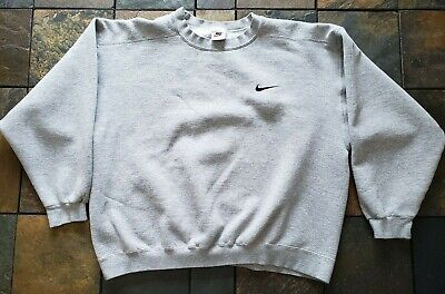 Swoosh Nike L Black Vintage Sweatshirt Neck Made In Crew 1980's Usa Gray 8nmvN0w