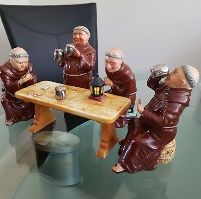 VINTAGE SET of BRETBY 'JOVIAL' MONKS PLAYING CARDS AROUND A TABLE EX COND.1950's