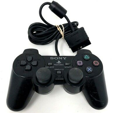 Official Sony PlayStation 2 PS2 Black Dualshock 2 Controller SCPH-10010 C4b