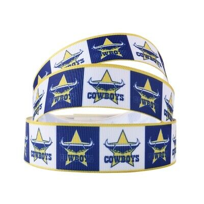Grosgrain Ribbon North Qld Cowboys Squares Rugby 25mm (1m, 2m or 5m + bundle)