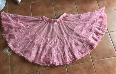 Rock and Roll Dance Petticoat - New - Pink with Silver Stars - Elastic Waist