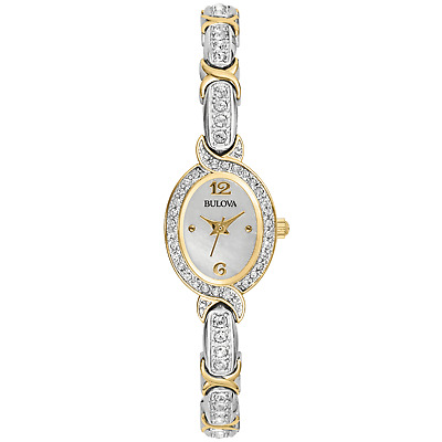 Bulova Ladies Crystal Accent Watch w/Oval Mother of Pearl Dial & Two tone Band