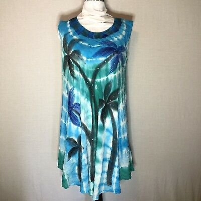 2ee5069e92 India Boutique Free Size Tie Dyed With Palm Trees Summer Dress Or Beach  Cover Up