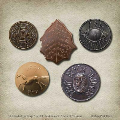 """THE LORD OF THE RINGS """"SET #1 MIDDLE-EARTH"""" 5 Coin Set Shire Post Mint NEW"""