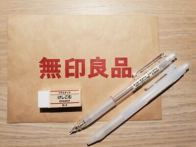 Muji mechanical pencil Pacer and Rubber Frosted Eraser 0.5mm