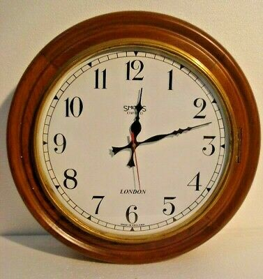 LARGE - Vintage Style SMITHS  LONDONG Wall Clock - Wooden & Brass (2807)