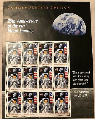 US STAMP  #2841 25th Anniversary of First Moon Landing (Sheet Of 12, MNH/OG)