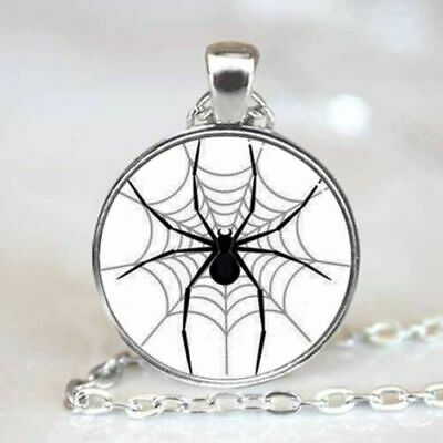 Necklace #514 Spider on Web 50mm silver tone chain 68cm long Goth UNISEX