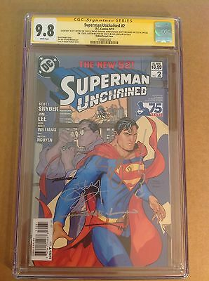 CGC 9.8 SS Superman Unchained #2 variant signed by Lee, Snyder, Dodson & 4 more