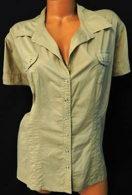 Cato brown women's plus size pockets short sleeve v neck button down top 22/24W