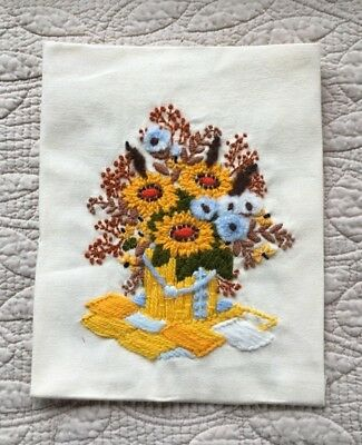 Vase of Flowers Crewel Needlework Completed Unframed