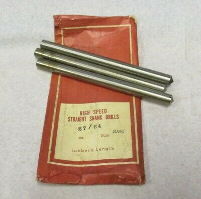 """27/64"""" Jobbers Length Drill Blank 5-3/8"""" Overall Length Bright Finish Lot of 3"""