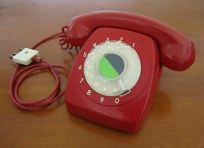 Vintage Retro 70s Shiny Red Rotary Dial Telephone Collectable Old Skool