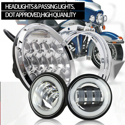 "7"" Chr LED Projector Headlight & Passing Lights Fit For Harley Davidson"