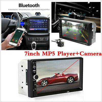 """Touch Screen 2Din Car Radio Audio Stereo Player 7"""" Bluetooth Camera Mirror Link"""