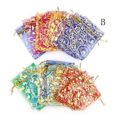 100x ORGANZA GIFT BAG Candy Sheer Jewellery Pouch Wedding Birthday PartyWE