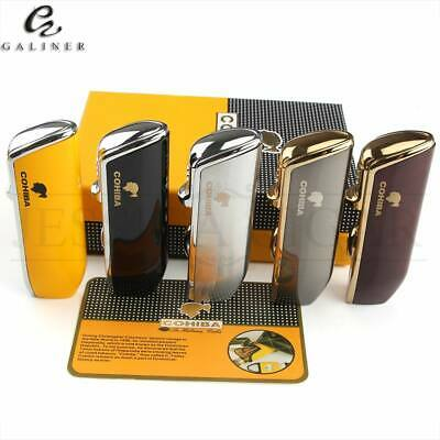 COHIBA Triple Torch Flame Pocket Cigar Cigarette Lighter Punch Refillable Butane