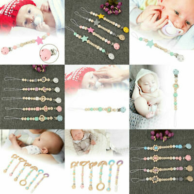 Pacifier Bead Clip Chain Dummy Holder Chew Baby Nursing Soother Wooden Toys HL