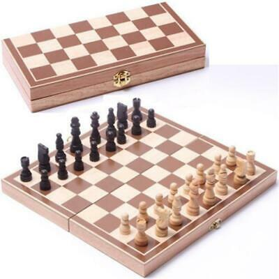 Wooden Chess Set Vintage Classic Board Wood Carved Folding Travel Hand Box Case