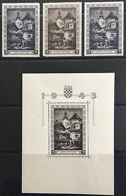 Germany: Occupied Croatia 1943 Stari Dolac issues + Minisheet MNH/MLH