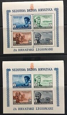 Germany: Occupied Croatia 1943 For Croatian Legionars Perf/Imperf Minisheets MNH
