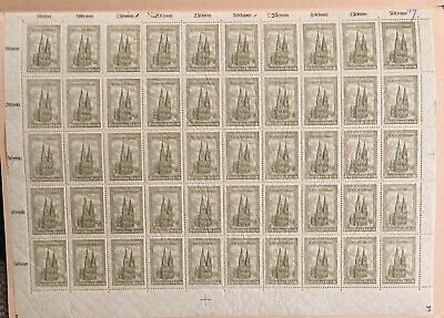 Germany 1923 Wartburg & Cologne Cathedral Sheet MNH