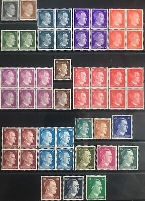 Germany Third Reich 1941-1944 Hitler issues in Blocks & Singles MNH/MH