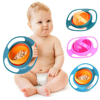 Baby Kid Children Spill-Proof Food Gyro Feeding Bowl Dish 360 degree Rotate lid