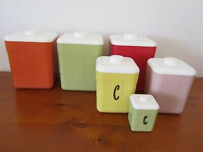 Vintage Set 6 Kitchen CANISTERS Harlequin Retro Storage