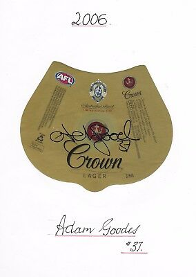 2006 Adam Goodes ~ Afl Brownlow Medal~ Hand Signed Limited Edition Beer Label
